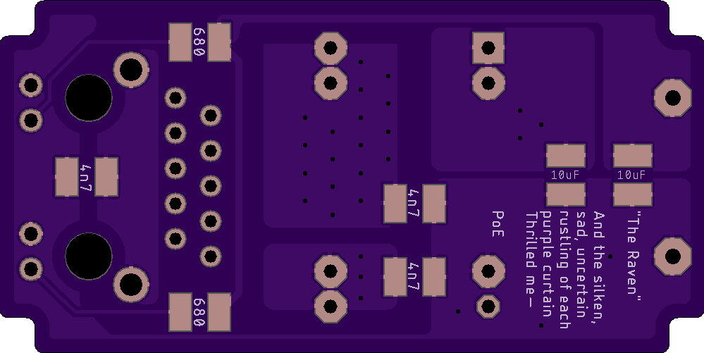 OSH Park circuit board for Raven - bottom